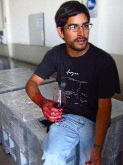 Agronomist Mauricio Gonzalez presents the micro-vinification of Altos Las Hormigas Single Vineyard Malbec, Makia, Vista Flores, Uco Valley