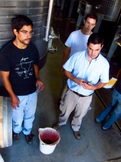 Mauricio Gonzalez, Ramiro Guiroy, Leonardo Rafatta test an experimental micro-vinification of Altos Las Hormigas Single Origin Bonarda, for potential sparkling wine